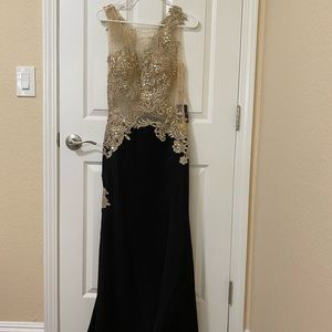 Long Party Dress with Beads and Lace Detail